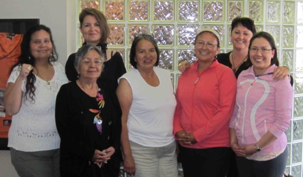 Participants at the Train-the-Trainers session held in July 2012, L-R: Bev Jacobs; Barbara Barker (back); Elder Lois Rullin, Haida Nation (front); Mavis Erickson; Cherlyn Billy; Melissa Hyland (back); Katrina Harry. Participants not in this photo were: Marilyn George, Belinda Lacombe, Rhaea Bailey and Gail Edinger.