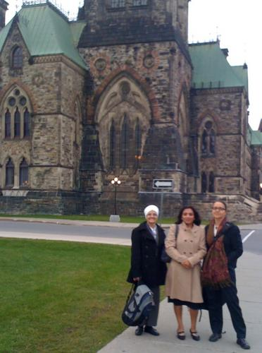 L-R: Harjit, Kamaljit and Gisela on Parliament Hill